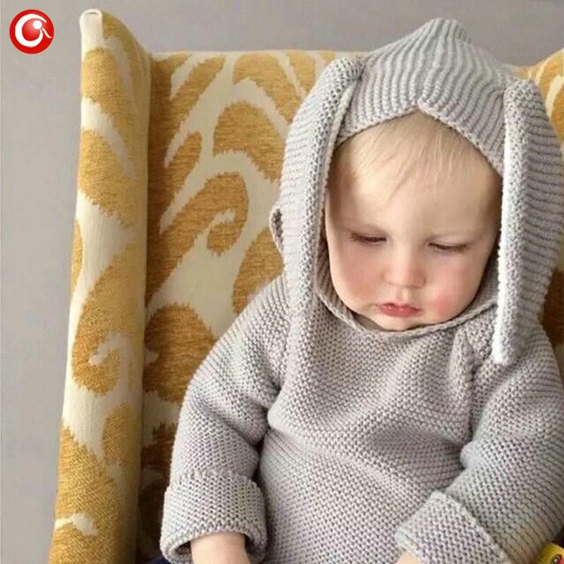 Autumn Crocheted Knitting 3D Rabbit Pattern Baby Girls Cardigan Children Toddler Boys Cotton Sweater Kids Warm Jumper 1-5Y (7)