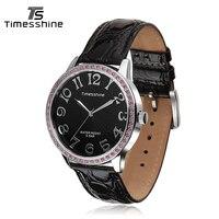 Timesshine Fashion Quartz Watches Women Diamonds Wrist Watch Leather Watchband Top Luxury Brand Ladies Dress Clock