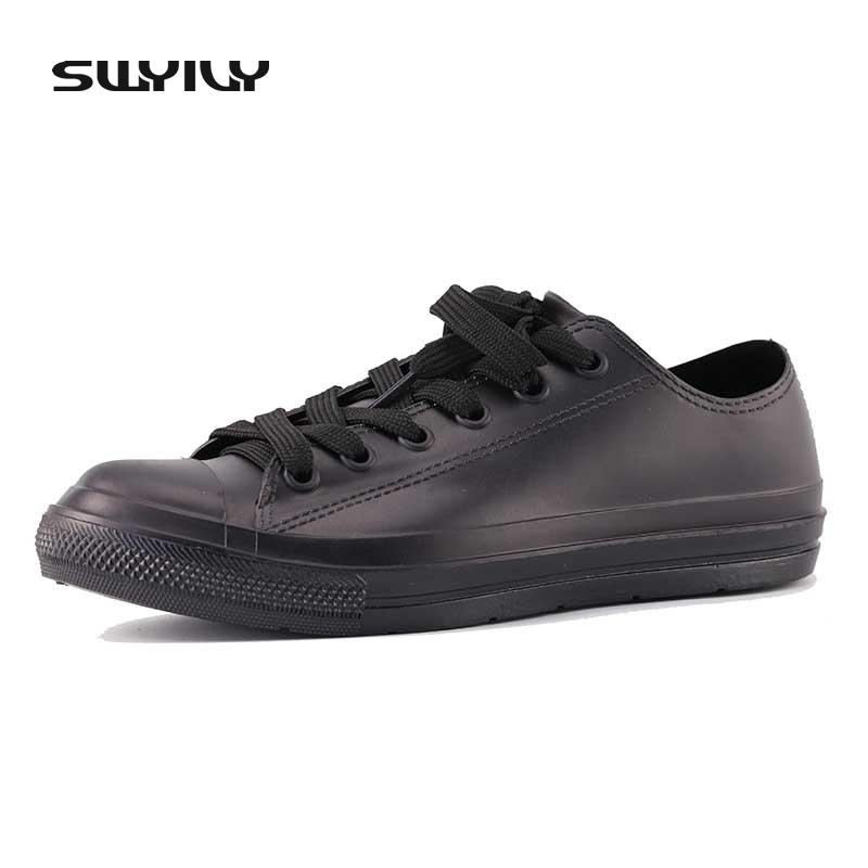 SWYIVY Rain Boots Woman Low Cut Sneakers White Waterproof Rubber Boots Women Lacing Up 2018 Female Causal Shoes Waterproof Water