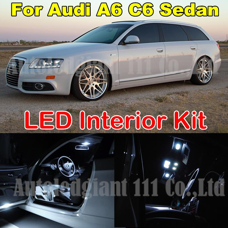WLJH 14X White Error Free Dome Mirrors Trunk Door Led Lighting Package For Audi A6 C6 Canbus Interior Light kit Sedan 2005-2011 18pc canbus error free reading led bulb interior dome light kit package for audi a7 s7 rs7 sportback 2012