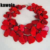 Red Stones Necklace Statement Necklace Layered Necklace Chunky Necklace