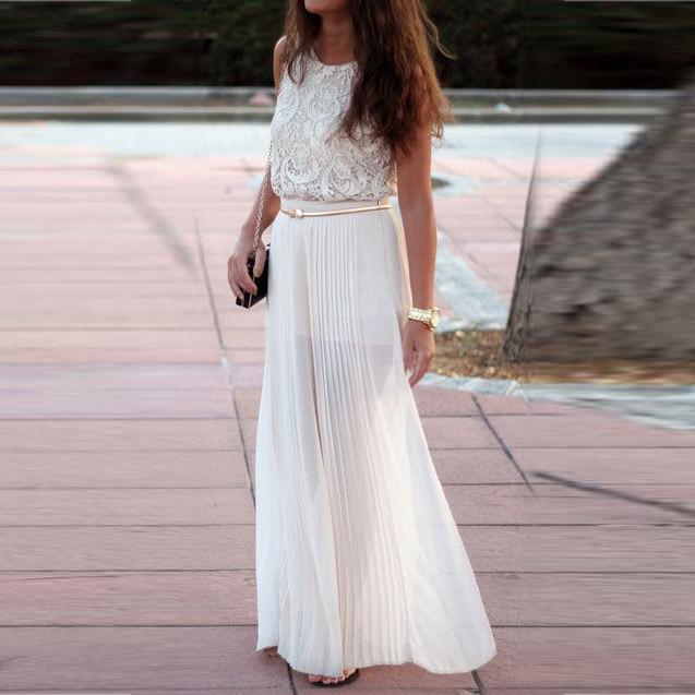 5bbb37917 € 31.54 |Blanco Maxi falda zipper cintura una línea piso longitud falda de  gasa con revestimiento corto falda de verano para las mujeres en Faldas ...