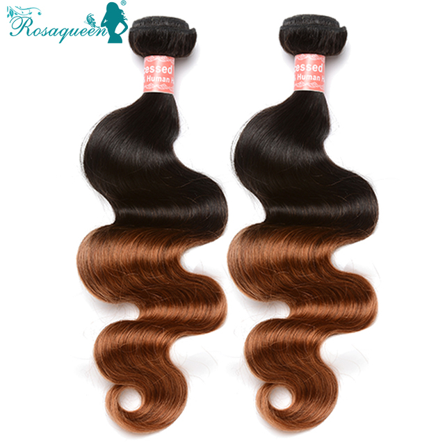 6A Rosa Queen Queen Hair Products Ombre Human Hair 2 Pcs/Lot 1B/30 Peruvian Virgin Hair Body Wave Ombre Human Hair Extensions
