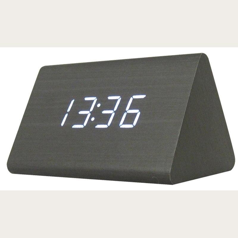Led Digital Schwarz Holz Dreieck Wecker Tisch Schreibtisch Uhr Mit Sound Control Temperatur Elektronische Uhren Ruf Zuerst