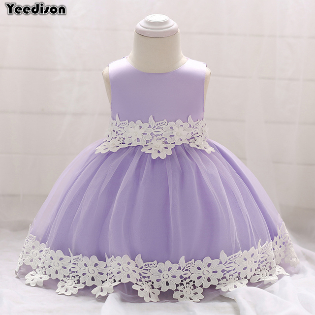 70f7c58bf973b Flower Newborn Baby Girl Dress 2018 Infant First Birthday Girl Party  Dresses Princess Cute Sleeveless Baby Christening Ball Gown