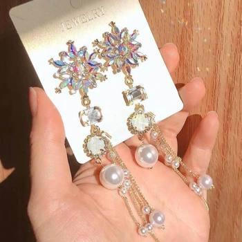 5894292d2867 MENGJIQIAO 2019 coreano nuevo colorido de flores de cristal de perlas  simuladas borla larga pendientes para las mujeres declaración de moda  fiesta Brinco