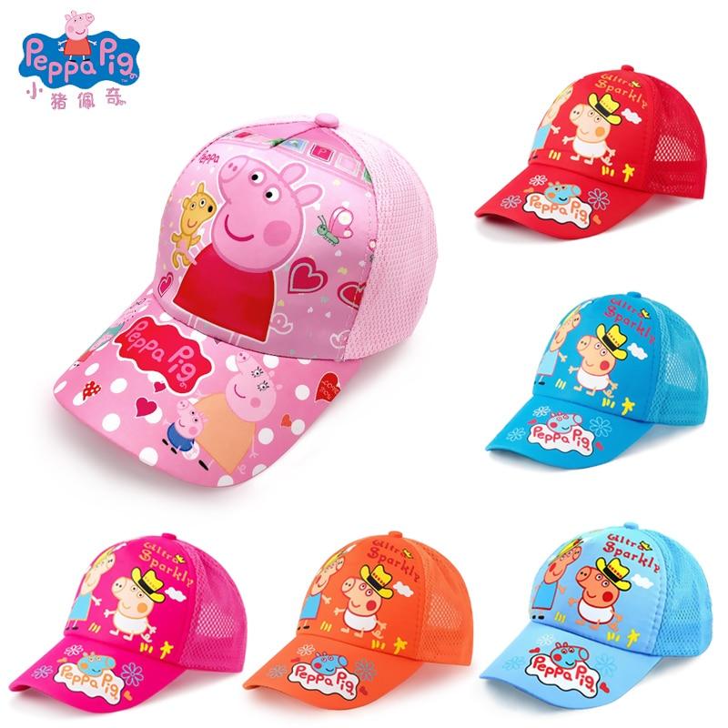 Peppa Pig Hat Breathable Sun Hat Summer Baseball  Cap Movie Anime Surrounding Stuffed Toys