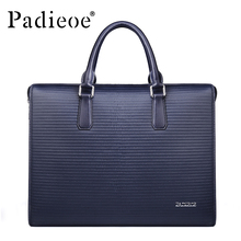 Padieoe Men s Genuine Leather Briefcase Real Durable Cow Leather Handbag Business Tote Laptop Bag Men