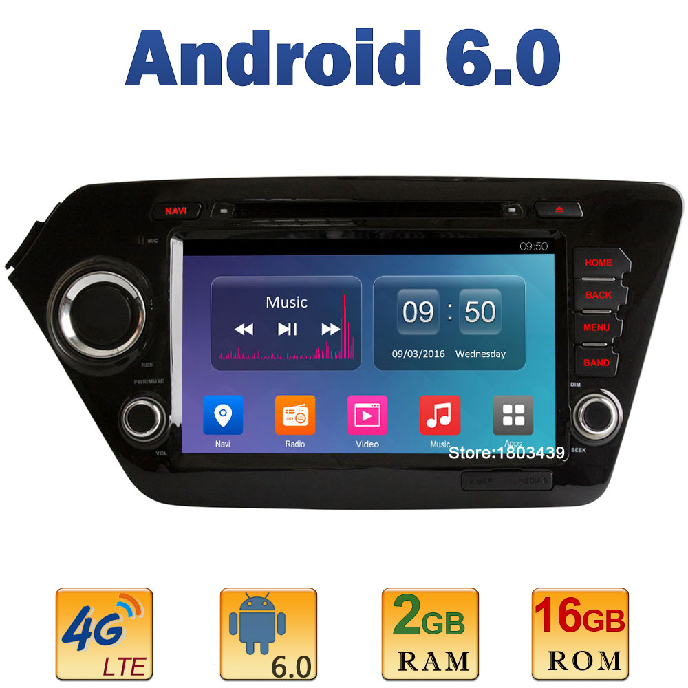 8″ 1024*600 Quad Core 2GB RAM 4G LTE SIM WIFI Android 6.0 Car DVD Player Radio Stereo For Kia K2 Rio 2010 2011 2012 2013-2015 BT