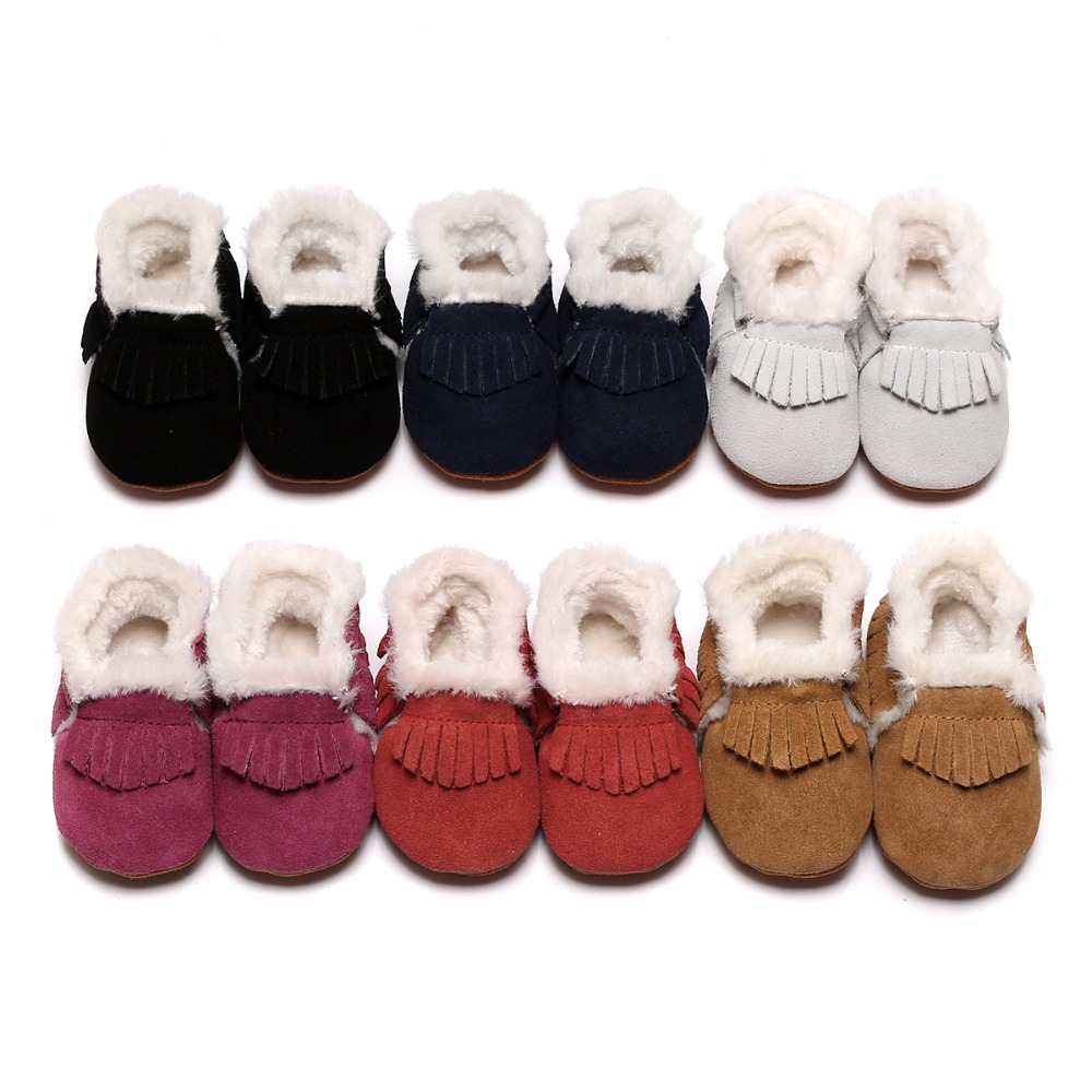 New Style Fringe Winter Fur Boots Genuine Leather Baby Boots For Girls Boys Toddler Hard Sole First Walkers Baby Suede Shoes
