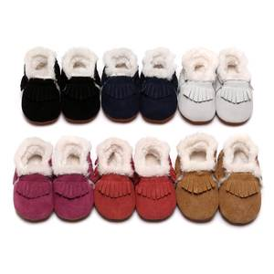 Baby Boots Shoes First-Walkers Girls Winter Fringe Toddler Boys for Hard-Sole Suede Fur