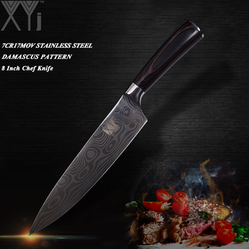 XYj Sharp Blade Stainless Steel Kitchen Knive Double Steel Head Wood Handle Knife Damascus Vein Fruit Vegetable Meat Chef Knife