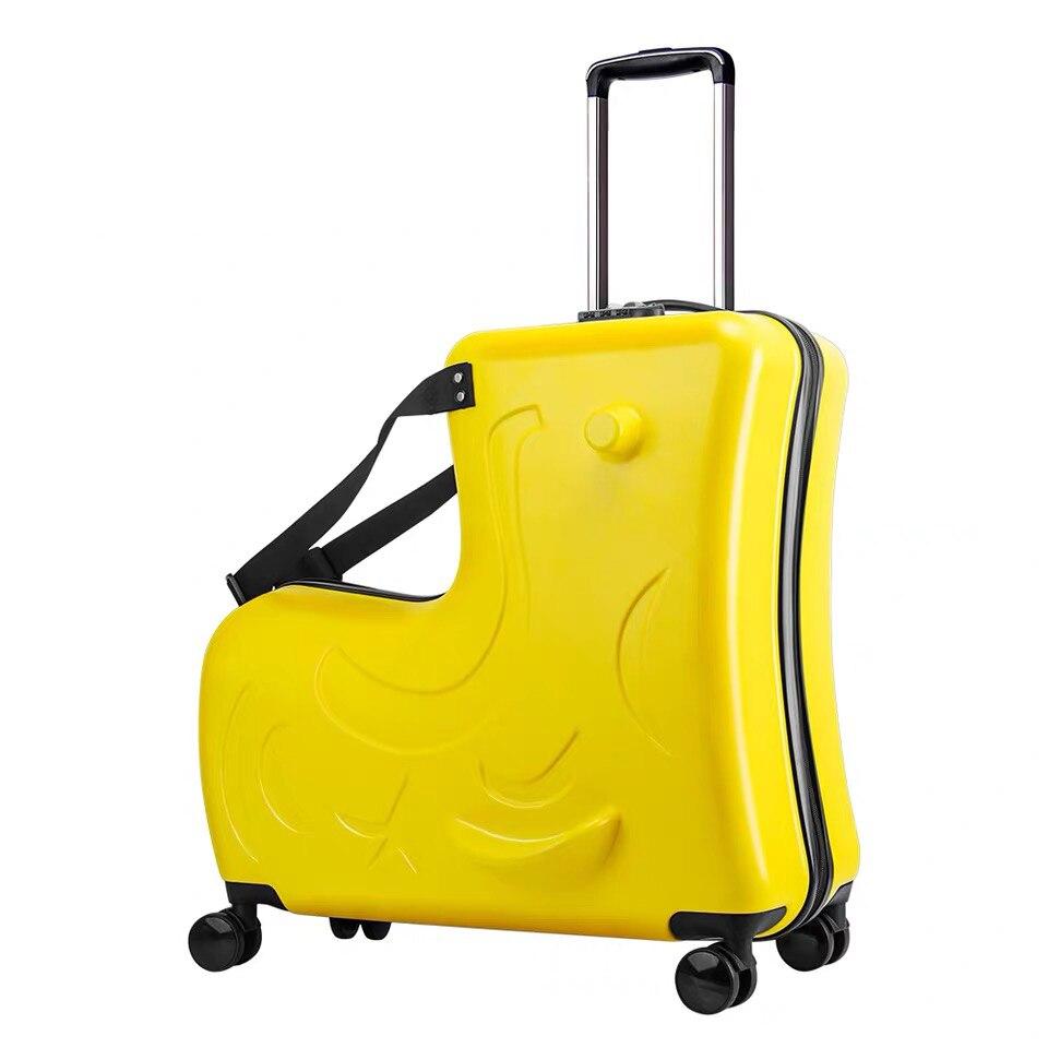 Детский Багаж на колесиках, чемодан на колесиках, детская дорожная сумка с колесиками - Цвет: yellow