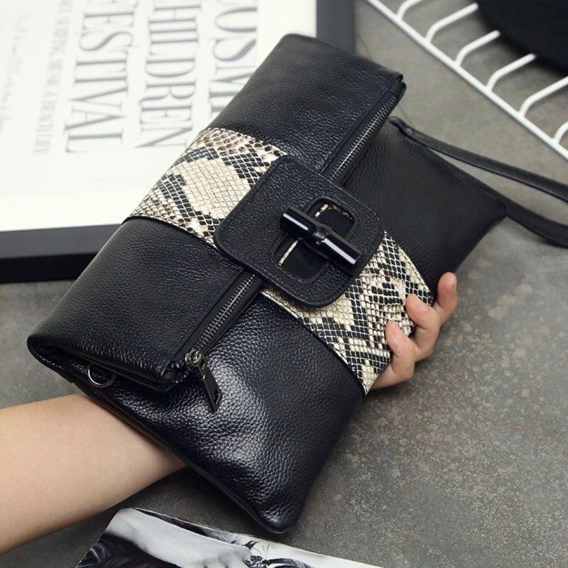 2017 Clutch Fashion Bag Genuine Leather Women Shoulder Bag Folded Envelope Evening Clutch Snake Skin Crossbody Hand Bags Female