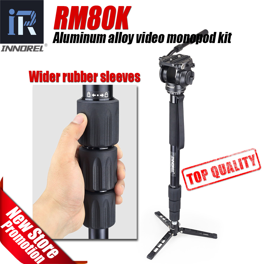 RM80K Professional video monopod aluminum alloy for Canon Nikon Sony DSLR camera Three Feet Support Stand base 190cm 74.8'' max diat aluminum alloy tripod video monopod with fluid pan head 3 feet support unipod holder for canon sony nikon dslr