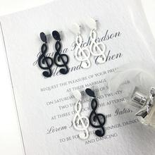 Black White Music Notes Acrylic Drop Earrings