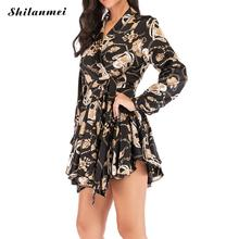 Vintage Print Short Mini Dress Women 2019 Autumn Fashion Long Sleeve Plus Size Ladies Elegant Lace Up A-Line Party