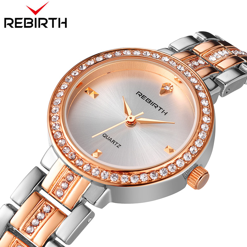 REBIRTH Hot Sale Women Watches Luxury Lady Watch Woman Rhinestone Wristwatches Fashion Crystal Watches Casual gold Watch Women все цены