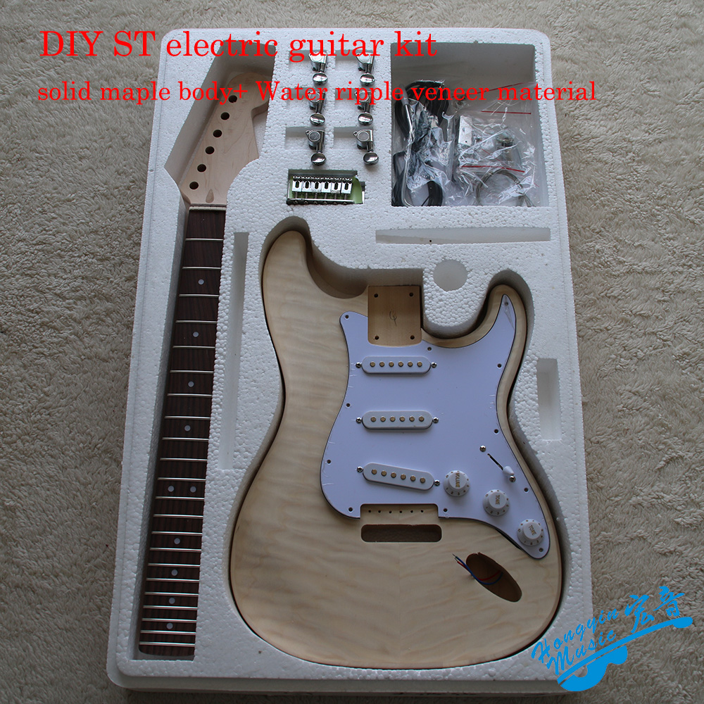 DIY ST Style Electric Guitar Kit Water Ripple Veneer Solid Wood Maple Body Neck Rosewood Fingerboard Guitar Accessories Set white tiger pattern 3a grade maple veneer lp style electric guitar diy kit african mahogany okoume body neck rosewood fretboard