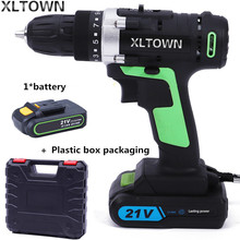 XLTOWN  21v cordless electric drill with a plastic box rechargeable lithium battery electric screwdriver household power tools