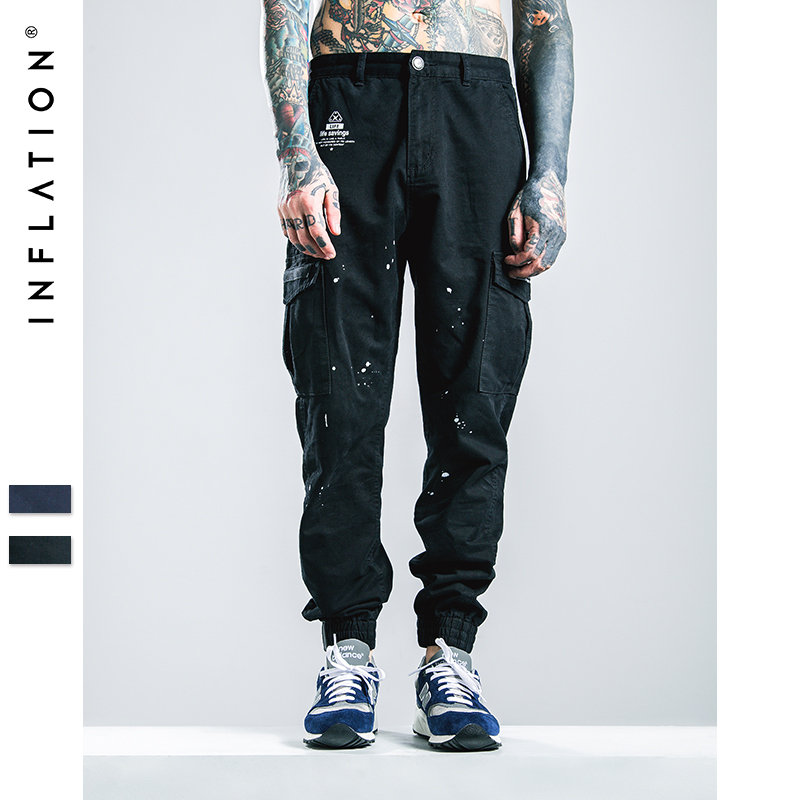 INFLATION Men Ankle-Tied Jeans Joggers New Denim Overalls Men Biker Homme Ink-jet Prinitng Jeans Pants For Men Free Shipping