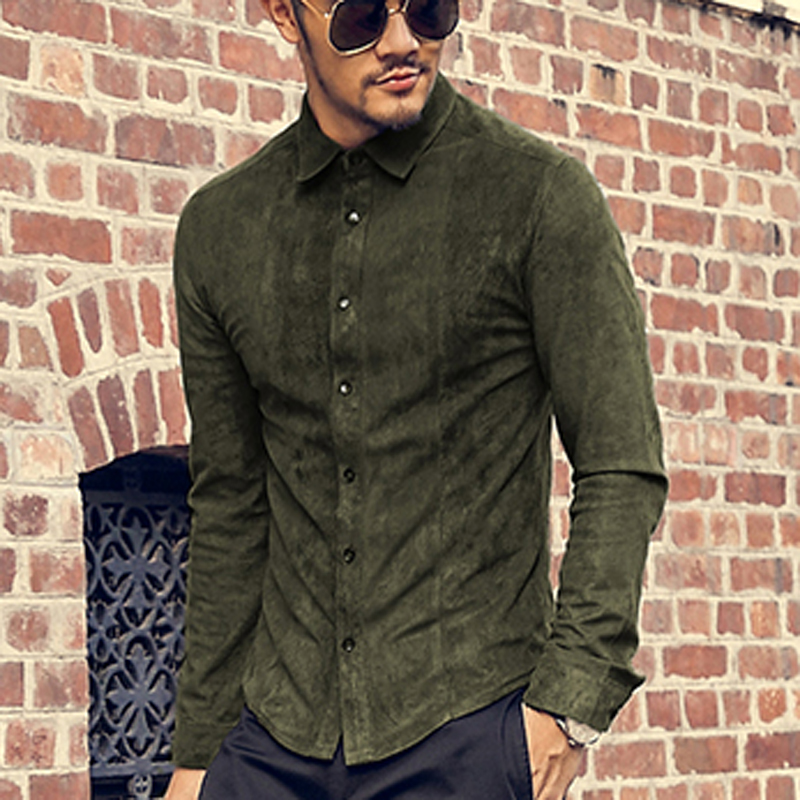 Buy suede leather slim mens suede shirt for Mens shirts with leather