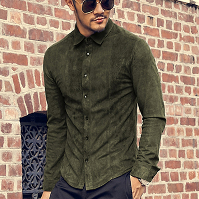 Suede Leather Slim Mens Suede Shirt Fashion Pu Leather