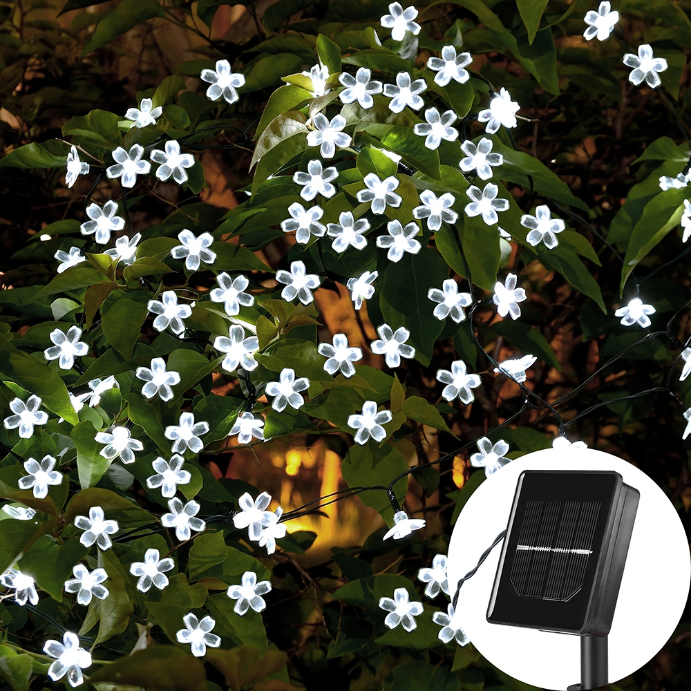 7M Solar String Jouluvalot Outdoor 23 ft 50 LED 3Mode Vedenpitävä kukka puutarha Blossom Valaistus Party Home Decoration