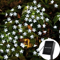 7M Solar String Christmas Lights Outdoor 23 Ft 50 LED 8 Mode Waterproof Flower Garden Blossom