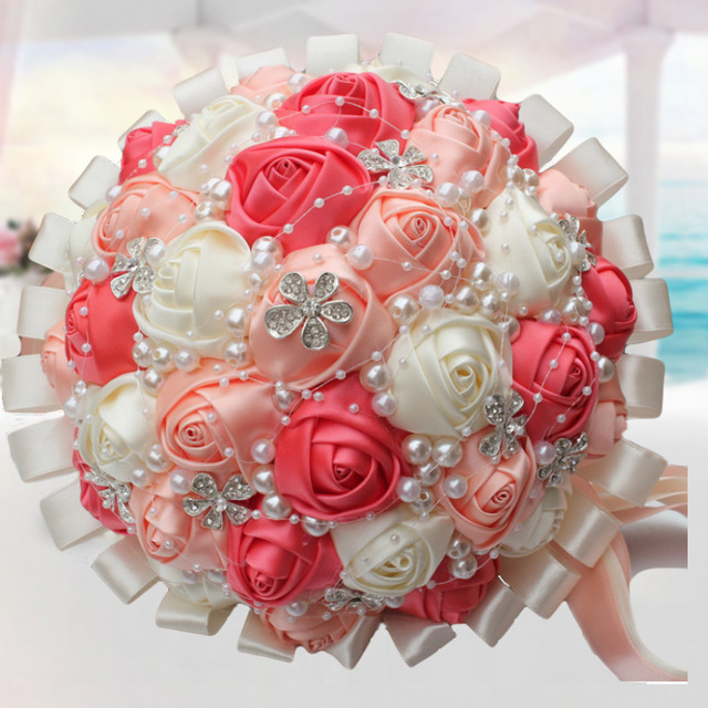 Top Quality Ribbon Bridal Wedding Flower Bouquets Pearls Watermelon ...