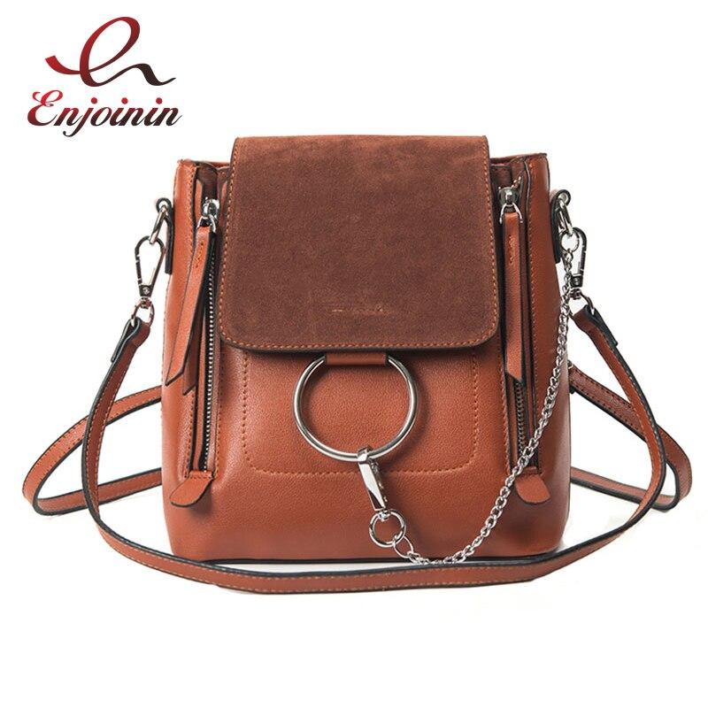 Fashion style design casual pu leather stitching suede metal ring ladies shoulder bag handbag purse women's multi-functional bag pu leather stitching metal ring crossbody bag
