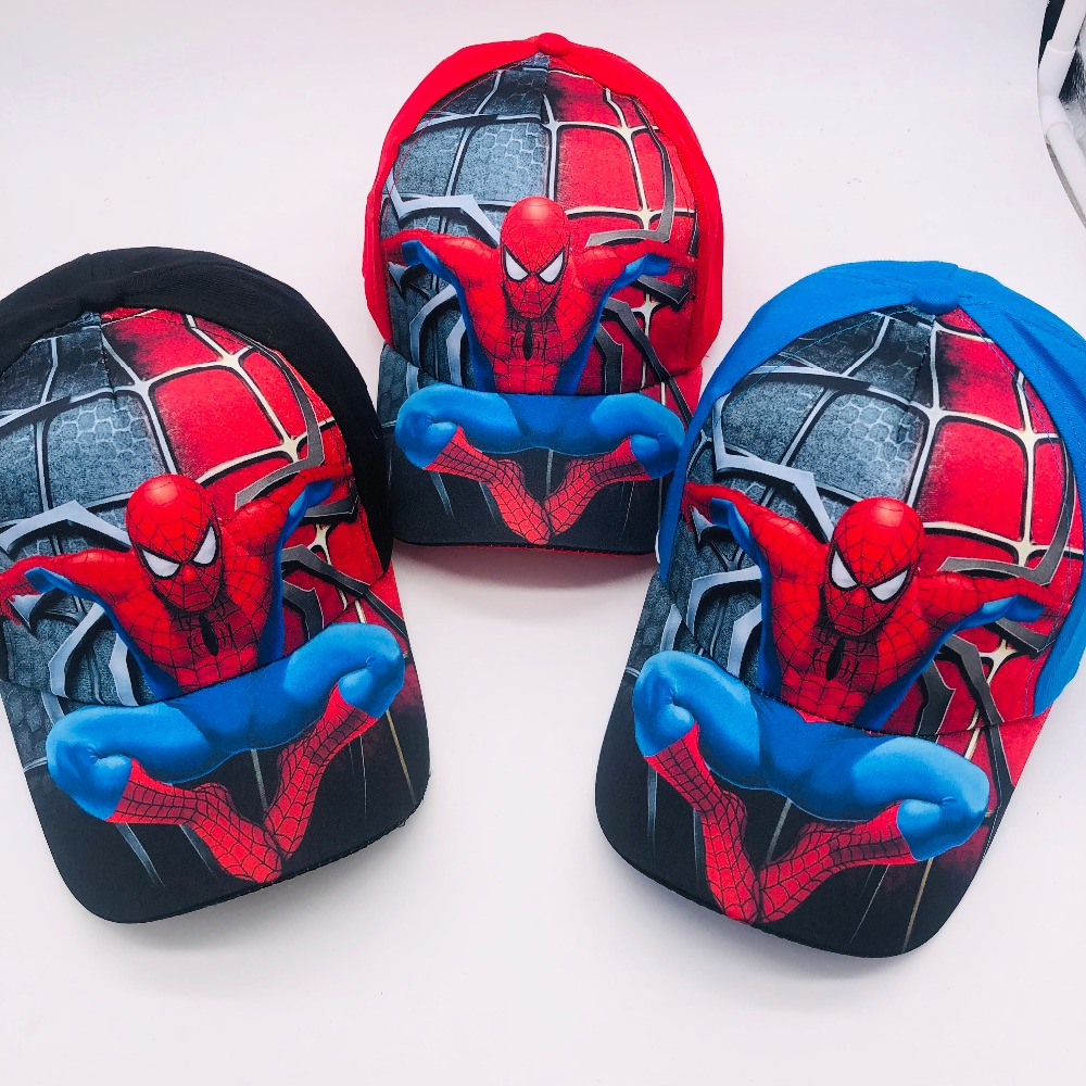 1pcs cartoon boys lovely avengers spider-man Fashion Sun Hat Mario Casual Cosplay Baseball Cap children party gifts