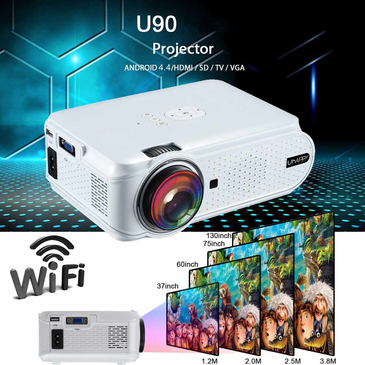 Uhappy U90 <font><b>7000</b></font> <font><b>Lumens</b></font> 1080P HD White Portable Projector Android 4.4 3D LED Home Theater Cinema image