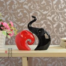 Black Red Love Elephant Ceramic Craft Supplies Ornaments Fashion Living Room Furnishings Wedding Gifts Handicraft
