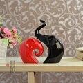 Schwarz Rot Liebe Elefanten Keramik Handwerk Liefert Ornamente Mode Wohnzimmer Eingerichtet Hochzeit Geschenke Handwerk|handicraft|   -