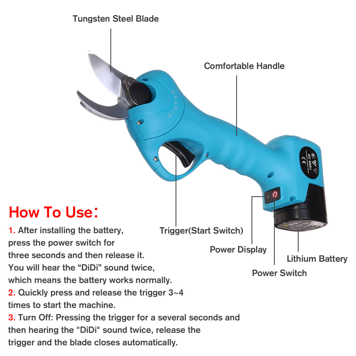 Rechargeable and Wireless Electric Garden Scissors with 16.8V Li-ion Battery for Pruning Tree as Garden Tool 8