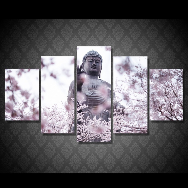 2017 JIE DO ART Buddha Wall Art Canvas Painting 5 Piece HD Print Buddha  Statue Flower