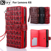 K Try For Lenovo Vibe K6 Case Cover Luxury Leather Soft Silicone Wallet Flip Cover For