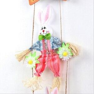 Image 4 - 핫 더블 토끼 부활절 펜던트 펜던트 홈 숍 장식 문 장식품 2 pcs