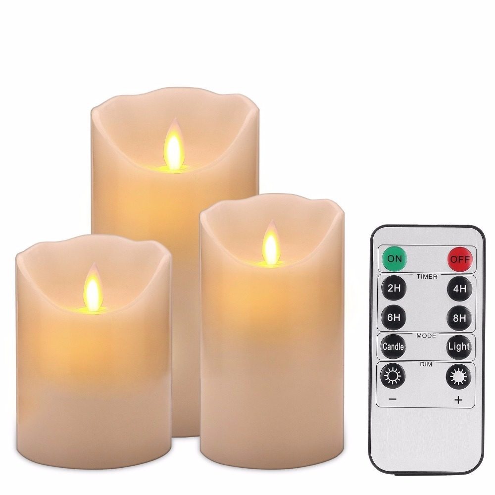 set of 3 moving wick led candles with remote control. Black Bedroom Furniture Sets. Home Design Ideas