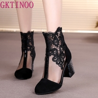 GKTINOO Women's Shoes Lace Genuine Cow Leather Spring Summer Fashion Boots High Heels Round Toe Mid Calf Boots Shoe Plus Size