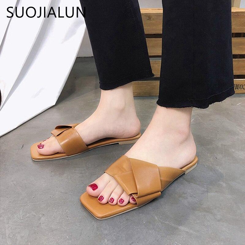 SUOJIALUN Women Slippers Summer 2018 Casual Flat Slides Women Sandals Slippers Slip-on Flip Flops Outdoor Slipper цена
