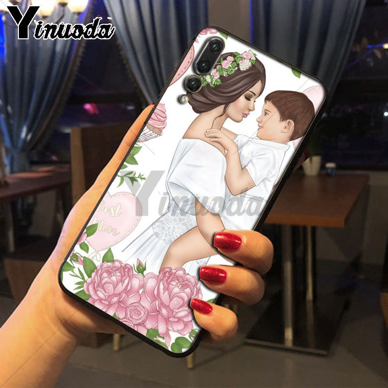 Yinuoda Black Brown Hair Baby Mom Girl Queen Phone Case For huawei p20 pro p20lite mate 10pro nova 3i mate20 pro Mobile Cases in Half wrapped Cases from Cellphones Telecommunications