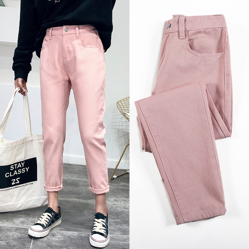 High Waist Jeans Woman Harem Jeans Pink Beige Brown Black Plus Size 32 Mom Pants Jeans For Women 2019 New Spring Autumn And Wint