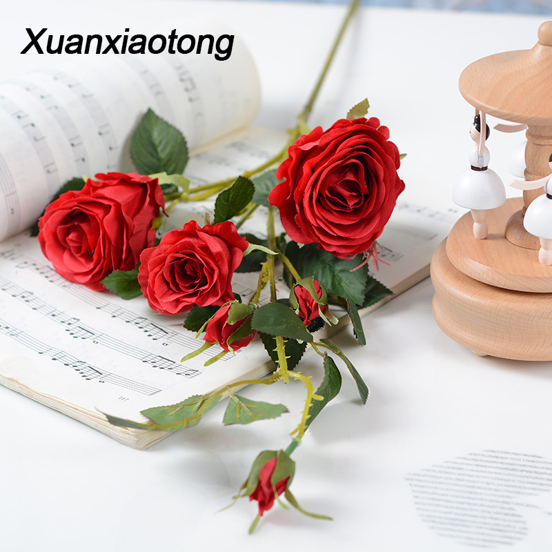 Xuanxiaotong 6 Head Rose Peonies Artificial flores 90CM Fake Roses Flowers for Wedding Home Party Decoration Table Centerpiece fake rose flowers