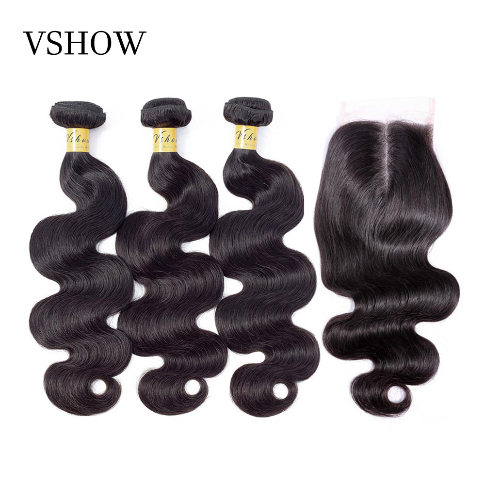 Brazilian Body Wave Hair 3 Bundles With Closure Human Hair Bundles With Closure VSHOW Remy Hair