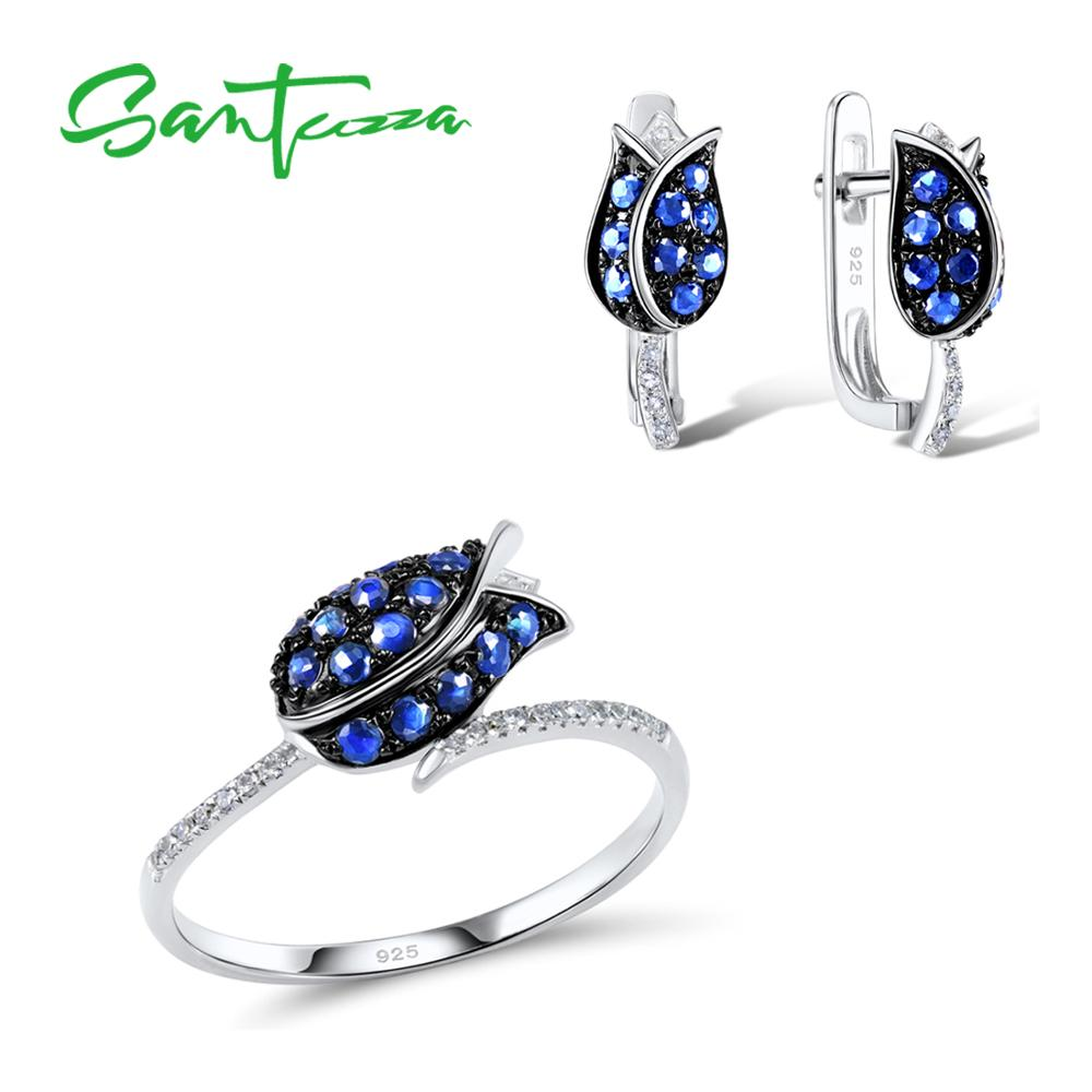 SANTUZZA Silver Jewelry Set For Woman Unique Delicate Blue Tulip Flower CZ Ring Earrings Set 925 Sterling Silver Fashion Jewelry