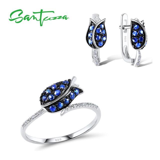 SANTUZZA gümüş takı seti kadın için benzersiz narin mavi lale çiçek CZ yüzük küpe seti 925 ayar gümüş moda takı