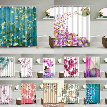 Kwiaty plakat zasłony prysznicowe kurtyna łazienkowa do dekoracji wnętrz wodoodporna tkanina poliestrowa wanna kurtyna ekranowa tanie i dobre opinie show curtains Europa Ekologiczne Zaopatrzony Floral Poliester