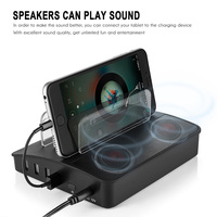 Multifunctional 4 Ports USB Charger Bluetooth Speaker Charging Station Power Adapter Smart Music Player